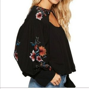 Free People Black Lita Embroidered Long Sleeve